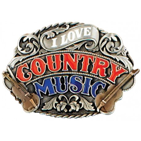 Belt buckle I love Country Music , Enamel
