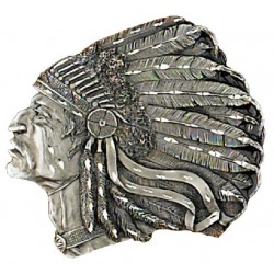 "Belt Buckle Indian Head , Diamond Cut 3-1/2"" x 3"""