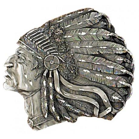 "Belt Buckle Indian Head , Diamond Cut 3-1/2"" x 3"""