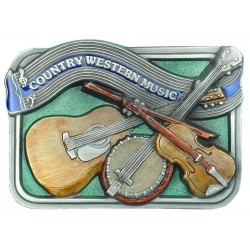 Country Western Music Belt Buckle