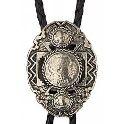 Pewter Indian Head Nickel Bolo Tie