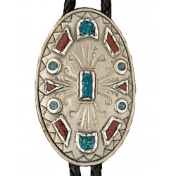 Turquoise & Corral Bolo Tie