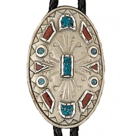 Turquoise & Corral Bolo Tie