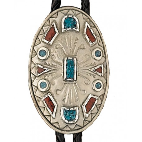 Pewter Turquoise & Corral Bolo Tie