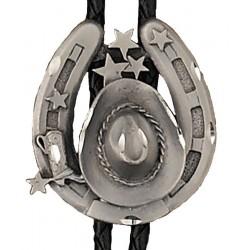 Pewter Hat & Horseshoe Bolo Tie