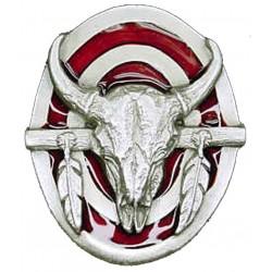 Buffalo Skull Bolo Tie, Red Enamel
