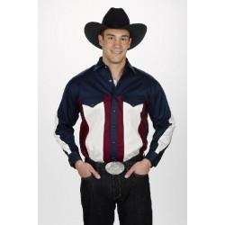 Camisa Vaquera para caballero tricolor- blanco, negro y vino tinto