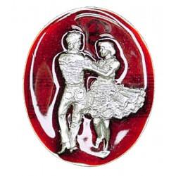 Square dancers Bolo Tie, Red Enamel