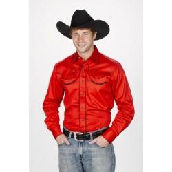 Camisa Vaquera para caballero- color rojo estilo retro