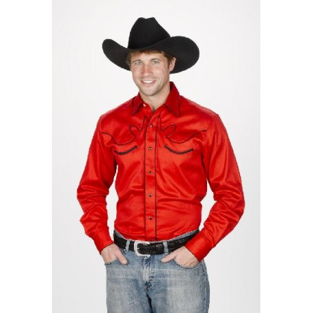 Men's Retro Western Shirt RED