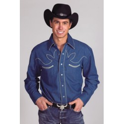 Camisa Vaquera para caballero -estilo retro- color azul