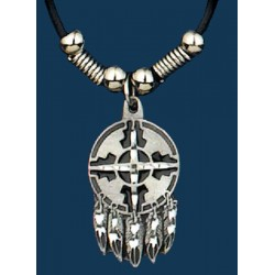 Shield & Feathers Necklace on Leatherette Cord
