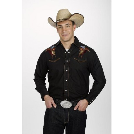 Men Western Shirt Bullrider Embroidery BLACK