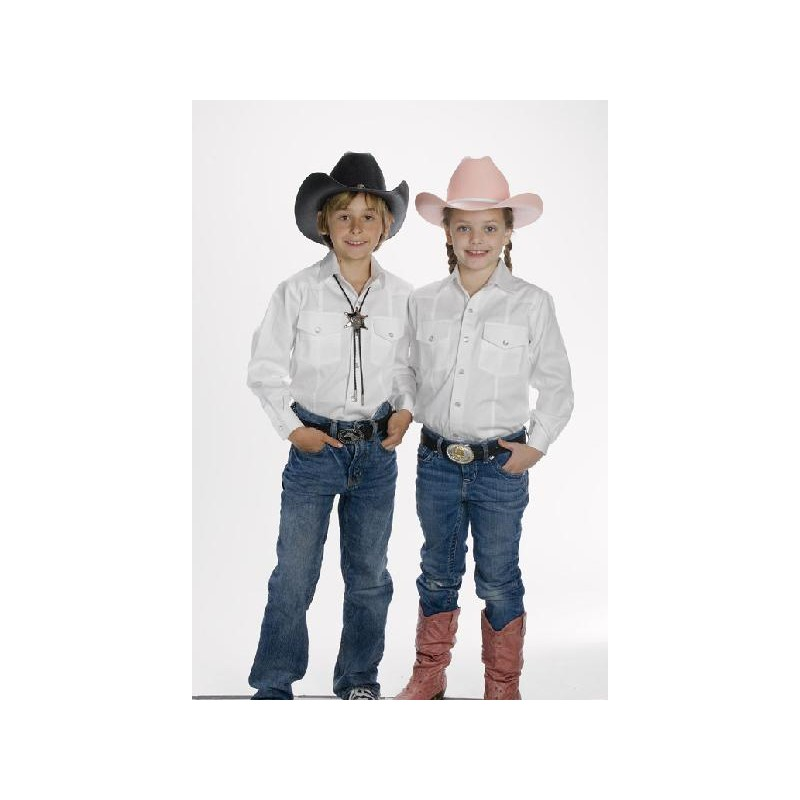 child 39 s western shirt white country cowboy wester supply. Black Bedroom Furniture Sets. Home Design Ideas