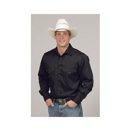Men's Solid Color Western Shirt - BLACK