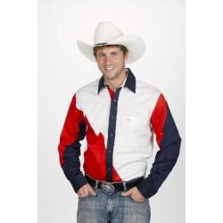 Camisa Vaquera para caballero tricolor- rojo, blanco y azul marino