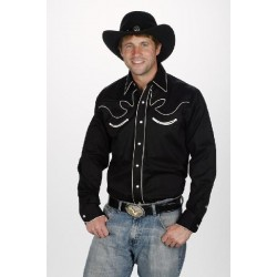 Camisa Vaquera para caballero-color negro estilo retro