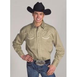 Camisa Vaquera para caballero- color caqui estilo retro