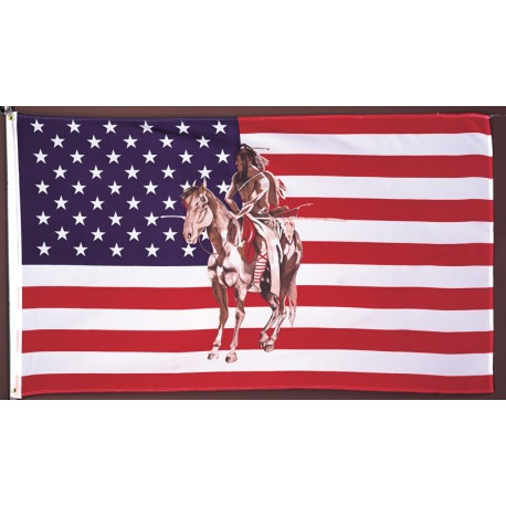 Horse & Indian USA Flag 3' x 5'