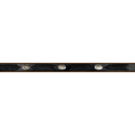 Black Leather Woven Western Belt With Conchos
