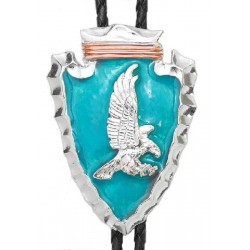 Pewter & Turquoise Arrowhead with Eagle Bolo Tie