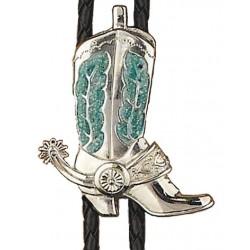 Silver Boot Turquoise Epoxy Bolo Tie