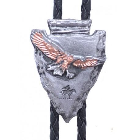 Tricolor Eagle Arrowhead Bolo Tie
