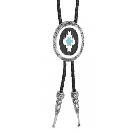 Aztec Bolo Tie with Turquoise inlay, Made in USA Bolo Tie