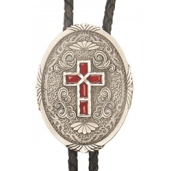 Western Cross Bolo Tie, Enamel, Made in the USA