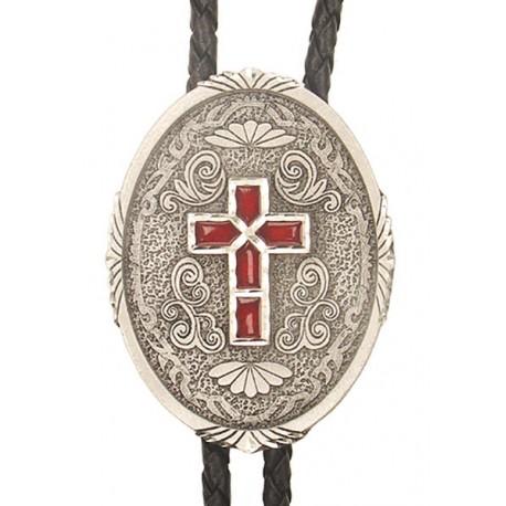 Western Cross Bolo Tie, Enamel, Made in the USA