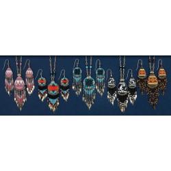 Magnifique Set Boucles d'oreilles + Collier Paint main