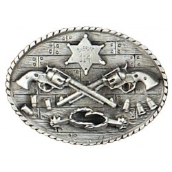 Crossed Guns & Spurs Sheriff Belt Buckle