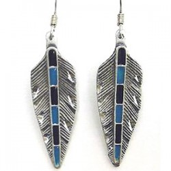 Feather Earrings with Turquoise & Black
