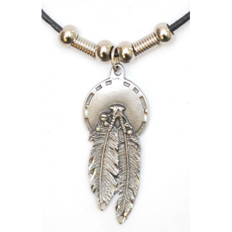 Feather Necklace on Leatherette Cord