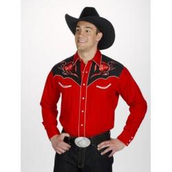 Chemise cowboy western rouge
