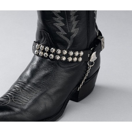 Black Leather Boot Chains with Star Studs