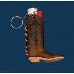 Single Leather Boot Lighter Case Key Ring