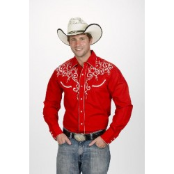 Men's Retro Western cowboy Shirt red LEAF EMBROIDERY