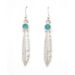 Pewter Feather With Turquoise Earring