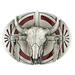 Buffalo Skull with Eagles Belt Buckle