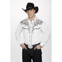 Men's Retro Western cowboy Shirt white LEAF EMBROIDERY