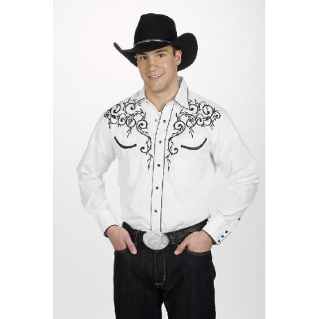 1c91d2ae4e6 Men s Retro Western cowboy Shirt white LEAF EMBROIDERY - Country ...