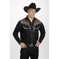 Men's Retro Western cowboy Shirt black LEAF EMBROIDERY